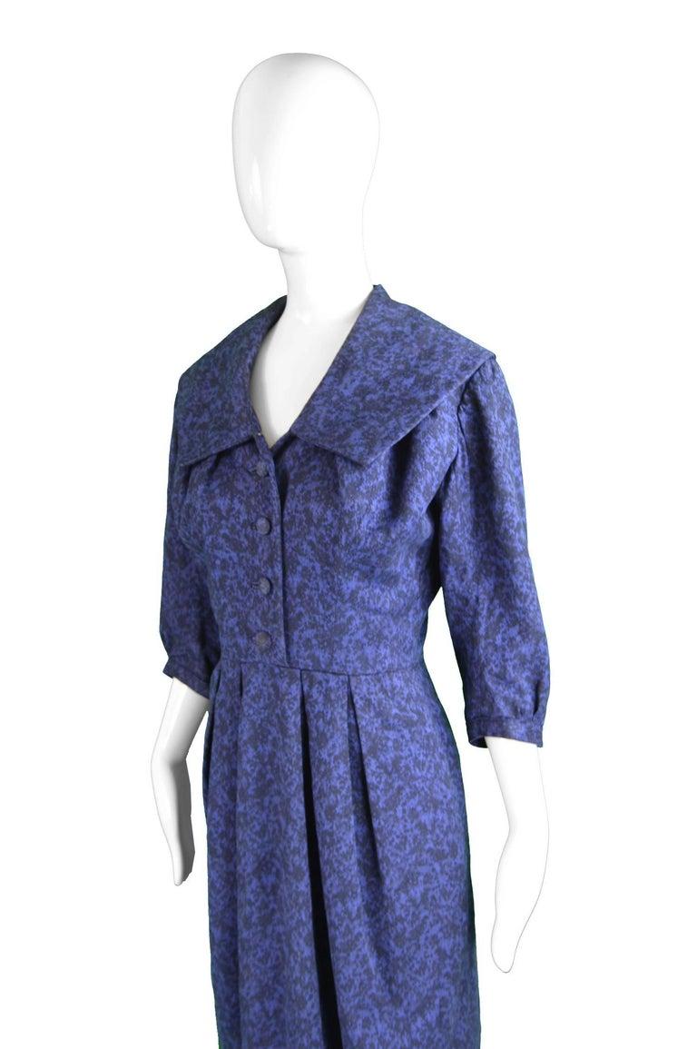 Christian Dior Vintage Blue & Black Wide Sailor Collar Dress, c.1954 5