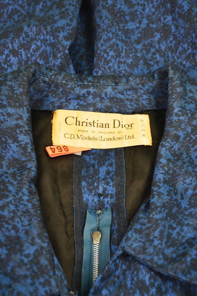 Christian Dior Vintage Blue & Black Wide Sailor Collar Dress, c.1954 9