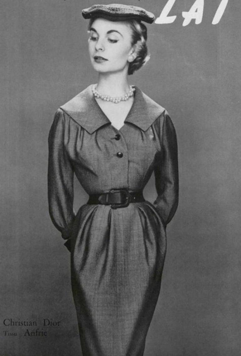 Christian Dior Vintage Blue & Black Wide Sailor Collar Dress, c.1954 10