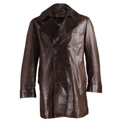 Costume National Homme Brown Italian Leather Mens Leather Peacoat