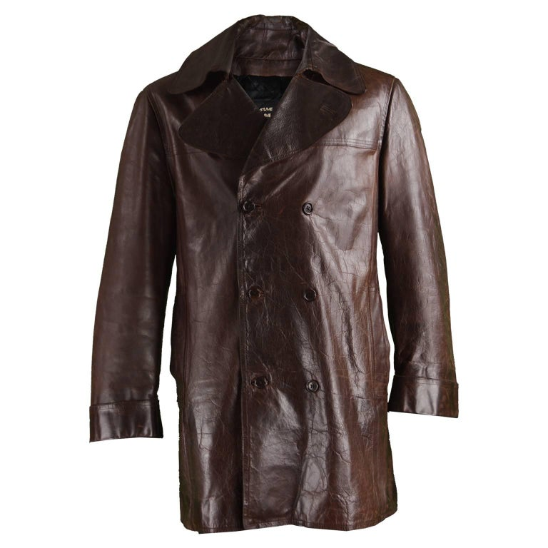 Costume National Homme Brown Italian Leather Mens Leather Peacoat ...