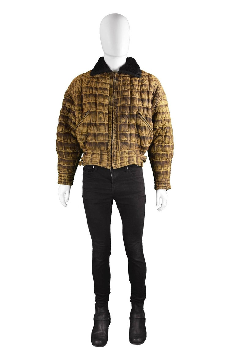 """Gianni Versace Men's Quilted Puffer Coat with Shearling Collar, c. Fall 1992  Please Click +CONTINUE READING to see measurements, description and condition.   Estimated Size: men's Medium to Large. Please check measurements.  Chest - up to 48"""" /"""
