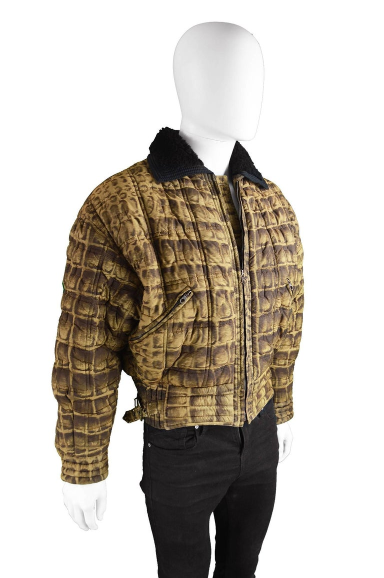Gianni Versace Men's Quilted Puffer Coat with Shearling Collar, c. 1992 For Sale 1