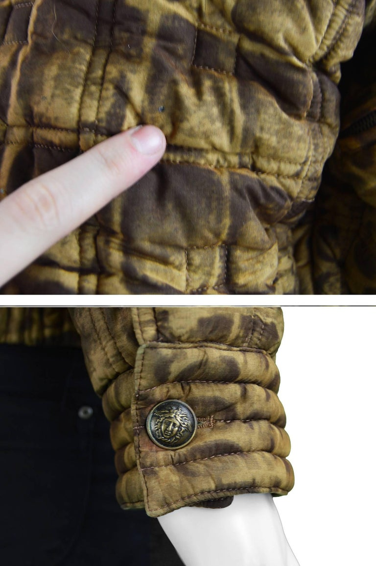 Gianni Versace Men's Quilted Puffer Coat with Shearling Collar, c. 1992 For Sale 4