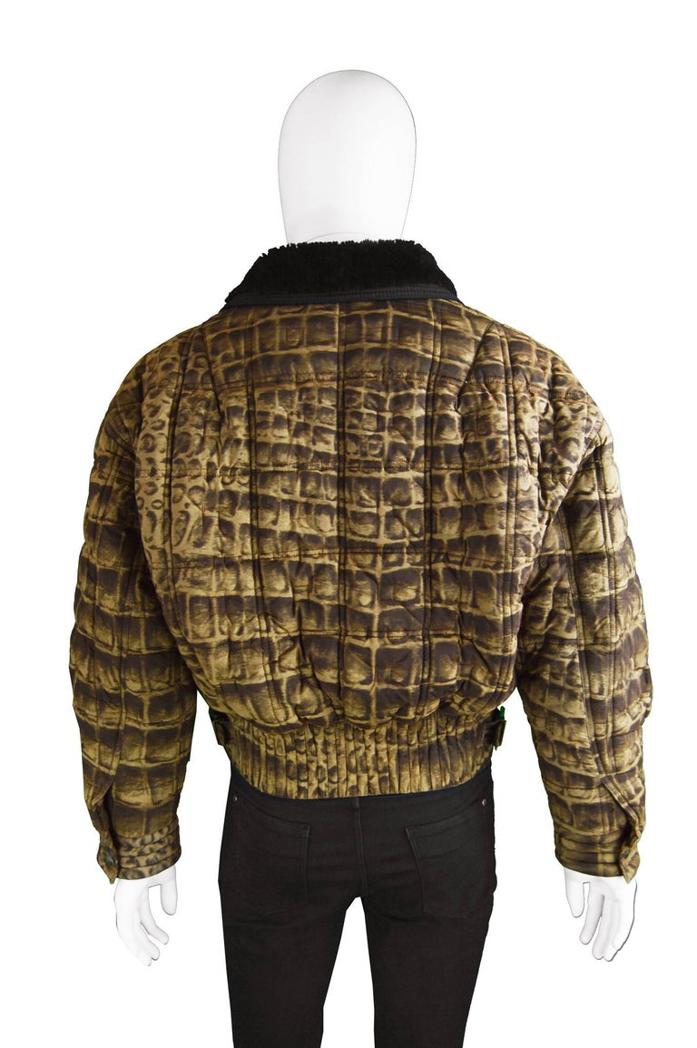 Gianni Versace Men's Quilted Puffer Coat with Shearling Collar, c. 1992 For Sale 2