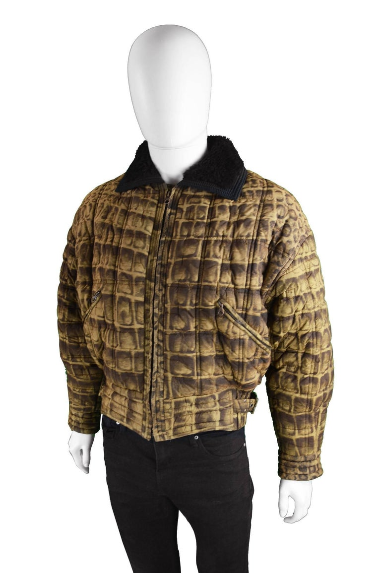 Brown Gianni Versace Men's Quilted Puffer Coat with Shearling Collar, c. 1992 For Sale