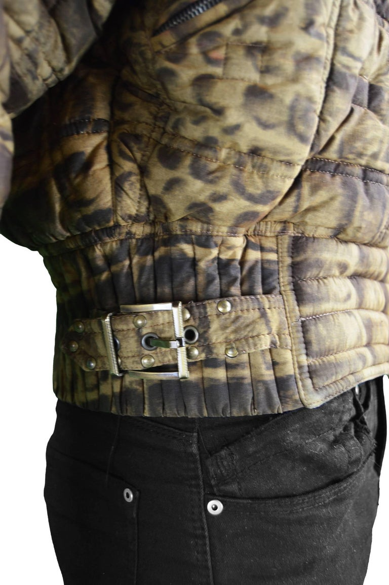 Gianni Versace Men's Quilted Puffer Coat with Shearling Collar, c. 1992 For Sale 3