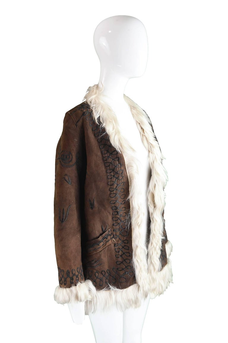 Embroidered Lambskin Dark Brown Vintage Afghan Coat, 1970s  For Sale 1