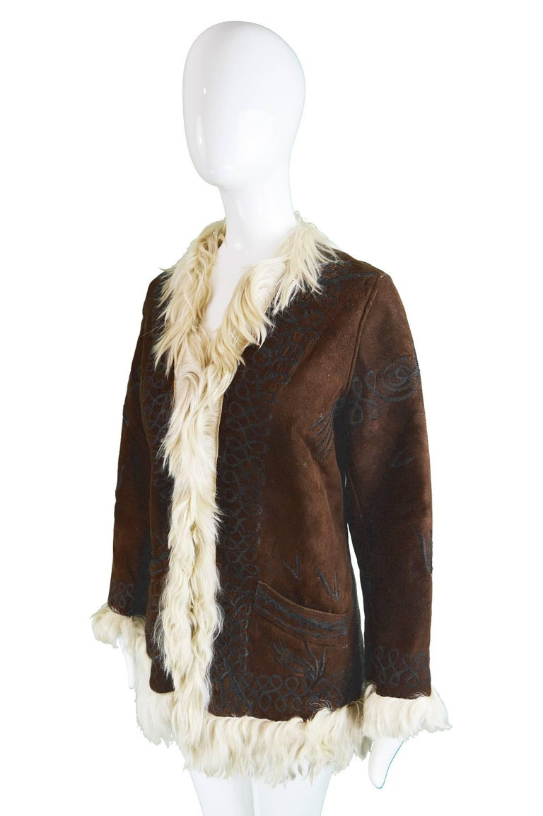 Women's Embroidered Lambskin Dark Brown Vintage Afghan Coat, 1970s  For Sale