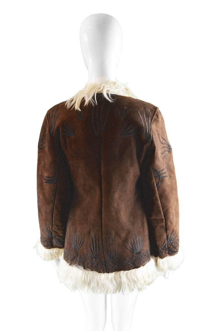 Embroidered Lambskin Dark Brown Vintage Afghan Coat, 1970s  For Sale 2