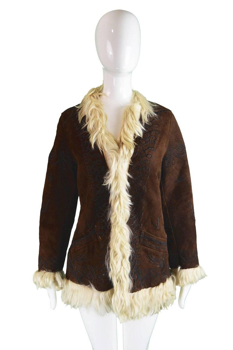 Black Embroidered Lambskin Dark Brown Vintage Afghan Coat, 1970s  For Sale