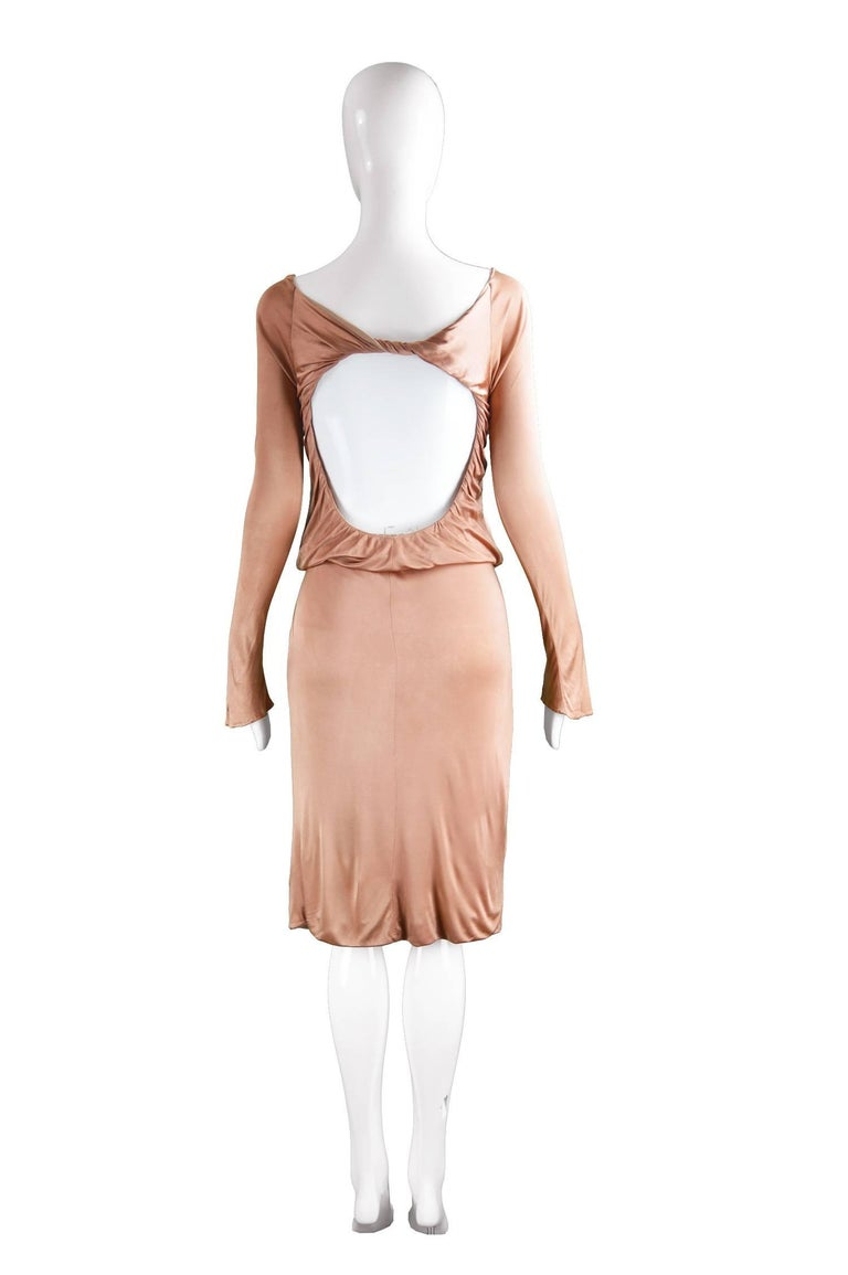 Brown Alexander McQueen Nude Jersey 'Pantheon as Lecum' Jersey Dress, A/W 2004 For Sale