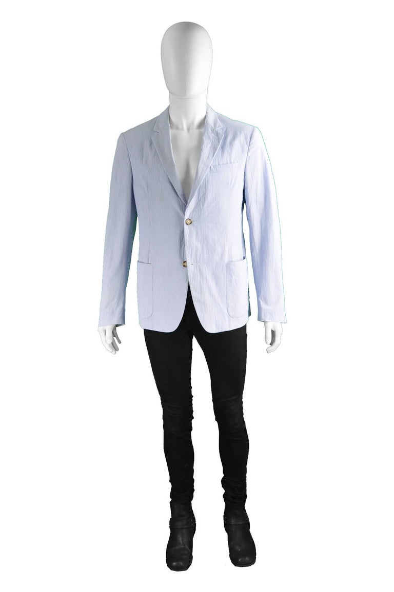 """Prada Men's Blue & White Lightweight Cotton Nautical Spring Blazer  Size: Marked 50 which is roughly a men's Medium. Please check measurements Chest - 40"""" / 101cm Length (Shoulder to Hem) - 26"""" / 66cm Shoulder to Shoulder - 18"""" / 46cm Sleeve Pit"""
