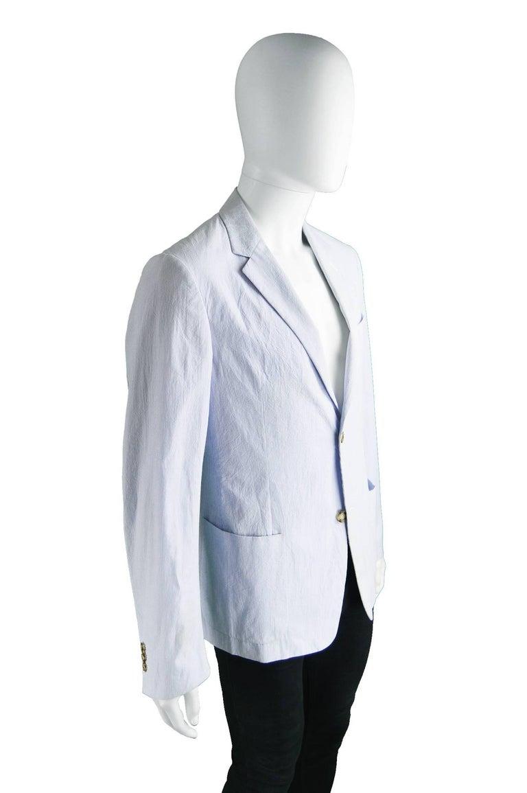 Prada Men's Blue & White Lightweight Cotton Nautical Spring Blazer 3