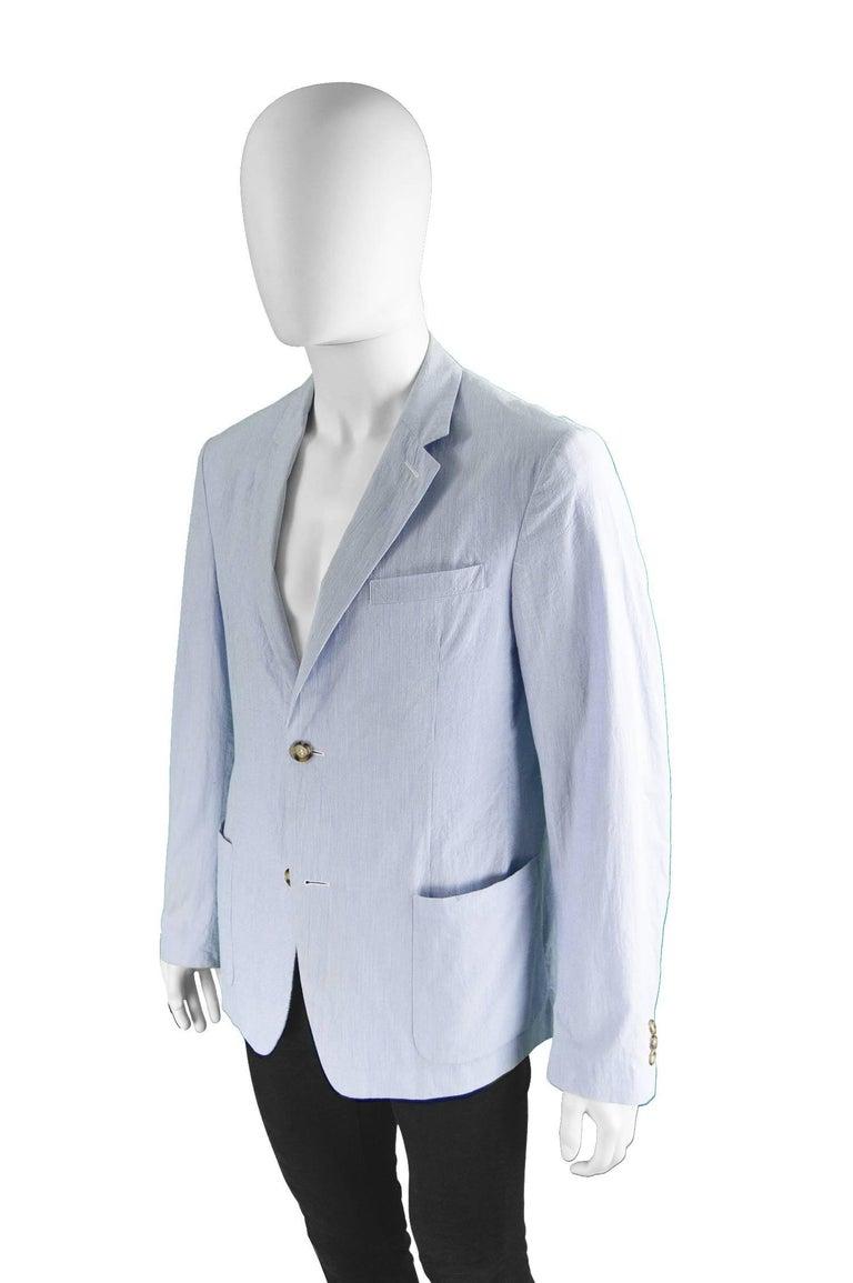 Prada Men's Blue & White Lightweight Cotton Nautical Spring Blazer 1
