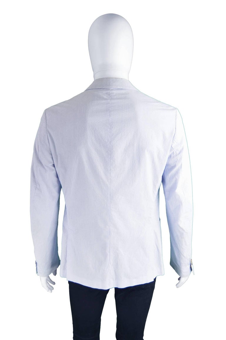 Prada Men's Blue & White Lightweight Cotton Nautical Spring Blazer 4