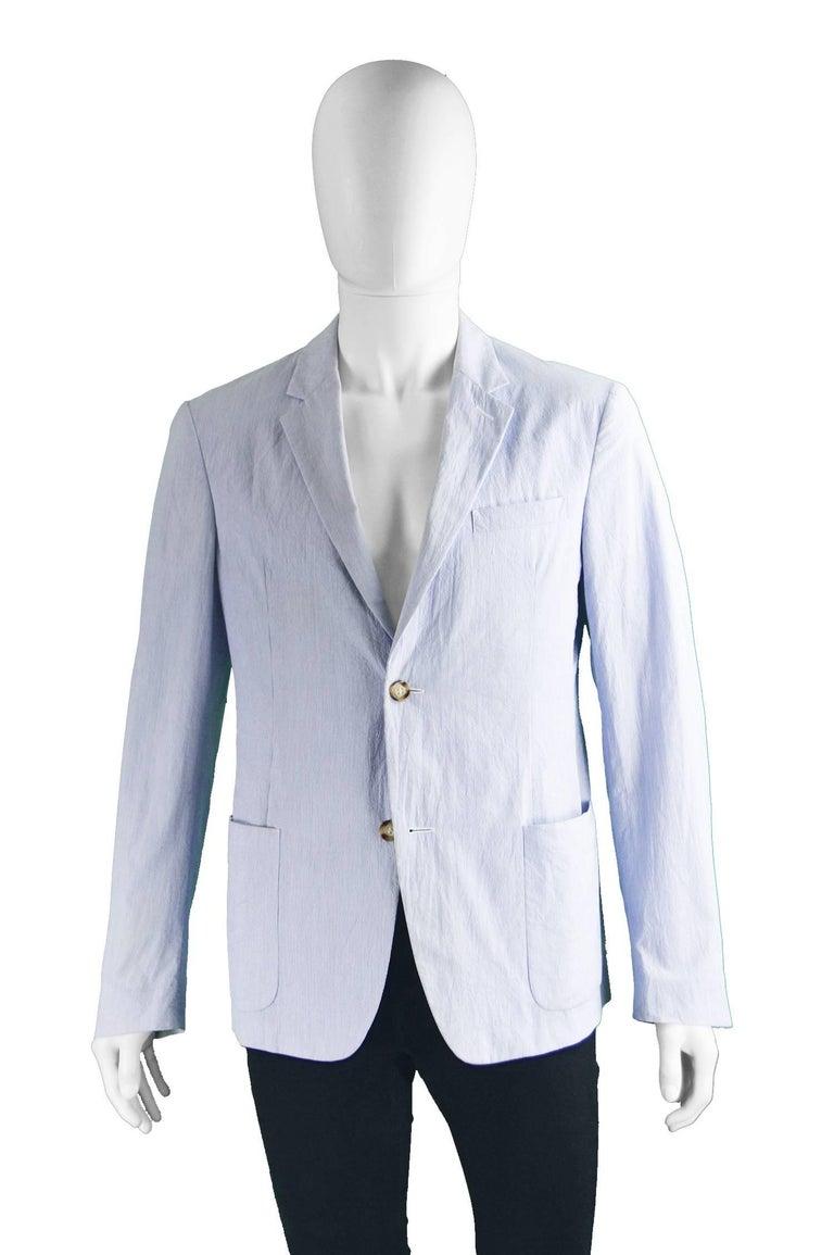 Purple Prada Men's Blue & White Lightweight Cotton Nautical Spring Blazer