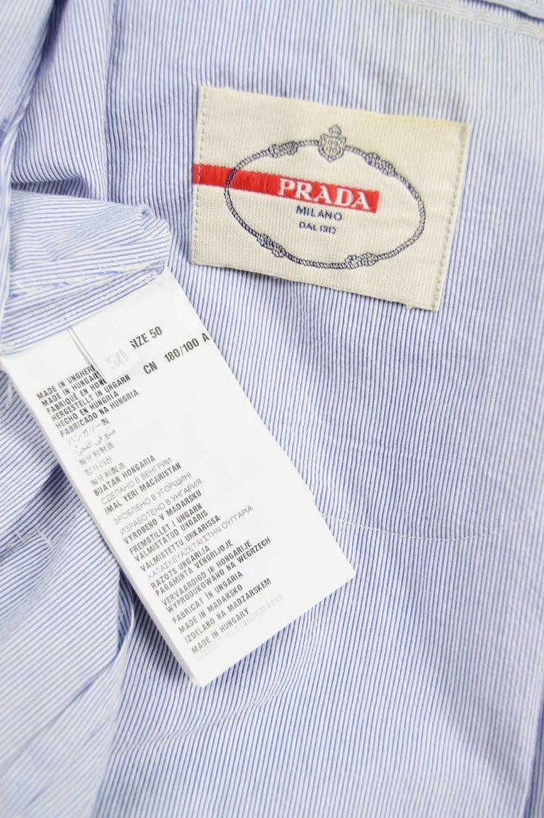 Prada Men's Blue & White Lightweight Cotton Nautical Spring Blazer 5