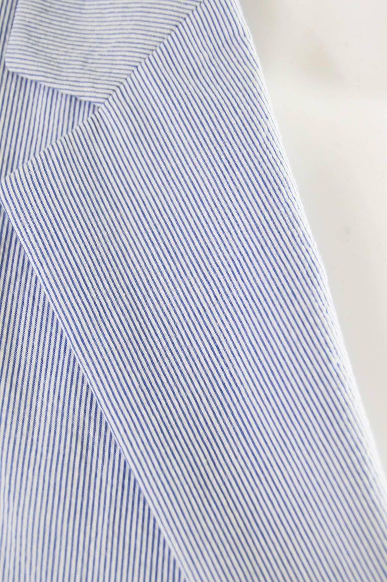 Prada Men's Blue & White Lightweight Cotton Nautical Spring Blazer In Excellent Condition In Doncaster, South Yorkshire