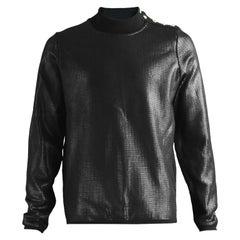 Thierry Mugler Men's Black Coated Italian Wool Vintage Sweatshirt, 1990s