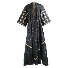 Indian Silk Black & Gold Lamé Brocade Vintage Maxi Kaftan Dress, 1970s