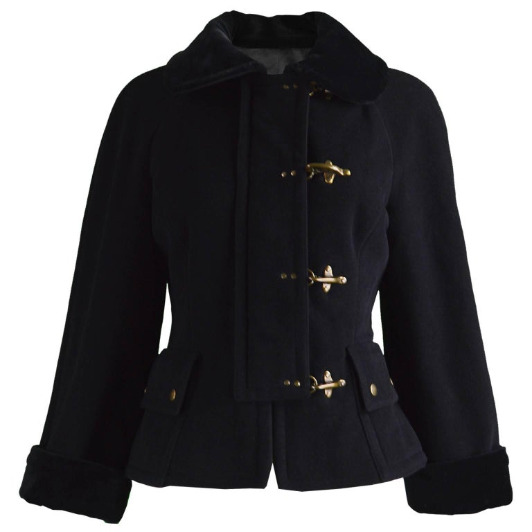 Moschino Vintage Black Wool Cashmere & Velvet Clip Buckle Detail Jacket, 1990s For Sale