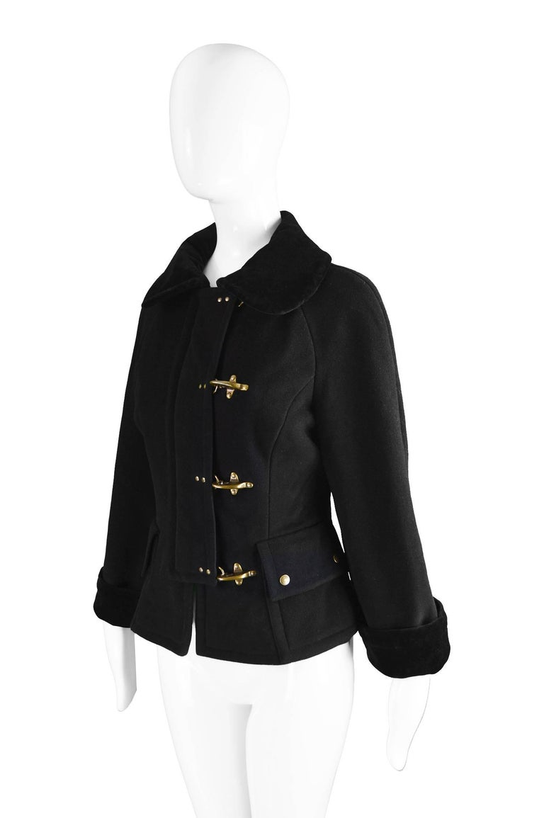Moschino Vintage Black Wool Cashmere & Velvet Clip Buckle Detail Jacket, 1990s For Sale 1