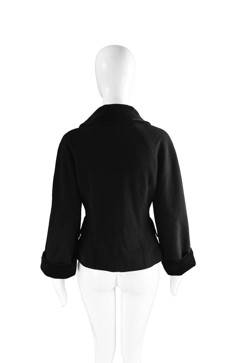 Moschino Vintage Black Wool Cashmere & Velvet Clip Buckle Detail Jacket, 1990s For Sale 2