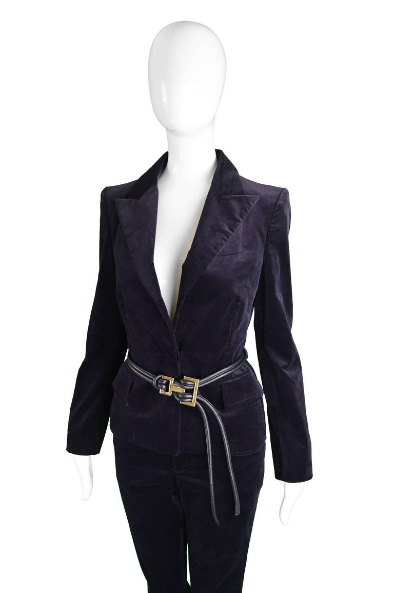Tom Ford For Gucci Dark Purple Velvet Pant Suit With