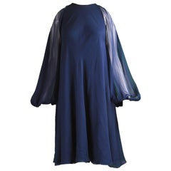 Halston Dark Blue Chiffon Cold Shoulder Balloon Sleeve Trapeze Dress, 1970s