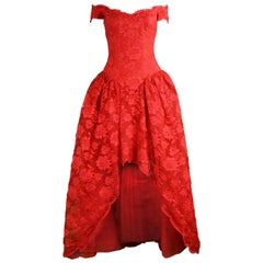 Scaasi Vintage Red Lace & Tulle High-Low Ball Gown, 1980s
