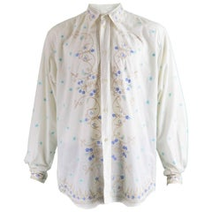 Katharine Hamnett Men's Vintage Floral Embroidered Cotton Shirt, 1990s