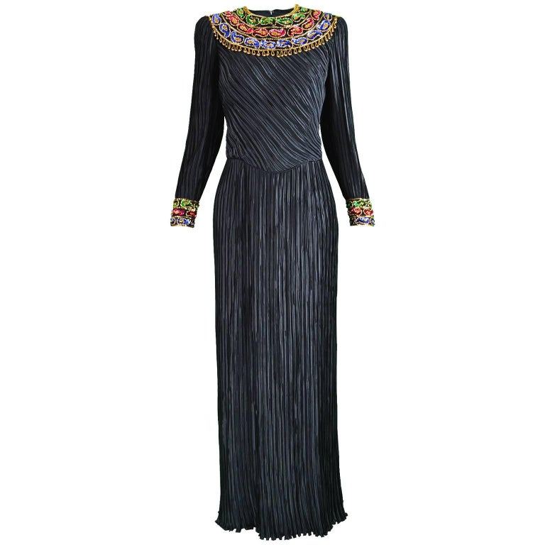 George F Couture Black & Gold Fortuny Pleat Beaded Evening Gown, 1980s