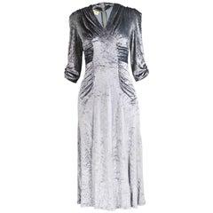 Irvine Sellars of Carnaby Street Vintage Silver Velvet Dress, 1970s