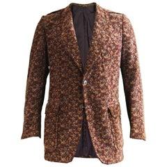 Ted Lapidus Vintage Men's Brown Velvet Tailored Blazer Jacket, 1970s