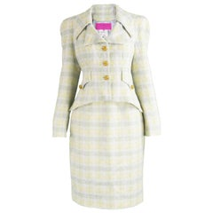 Unworn Christian Lacroix Cotton & Raffia Tweed Vintage Skirt Suit, 1990s