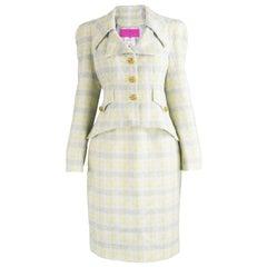 Unworn Christian Lacroix Cotton & Raffia Tweed Vintage Skirt Suit, 1990s