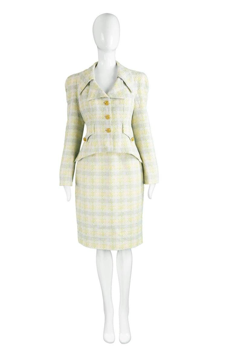 "Unworn Christian Lacroix Cotton & Raffia Tweed Vintage Skirt Suit, 1990s  Estimated Size: UK 10/ US 6/ EU 38. Please check measurements. Bust - 36"" / 91cm (allow a couple of inches room for movement)  Length of jacket (Shoulder to Hem) - 21"" /"