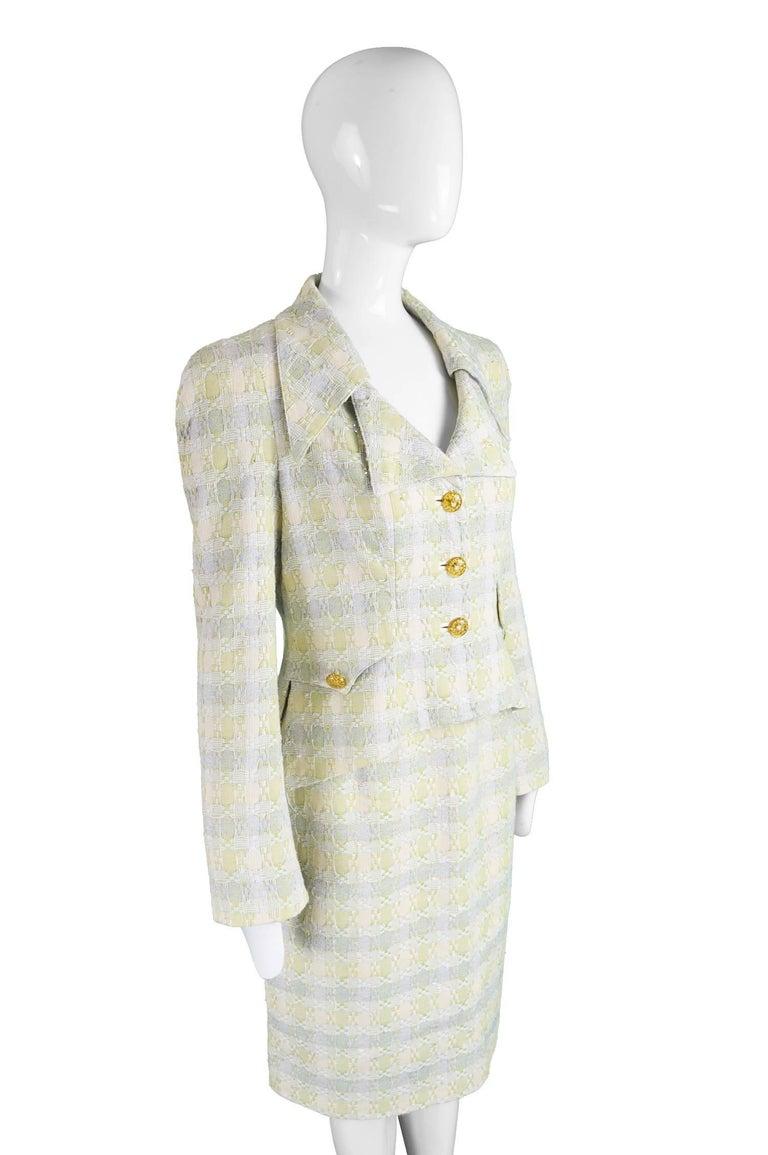 Unworn Christian Lacroix Cotton & Raffia Tweed Vintage Skirt Suit, 1990s For Sale 1