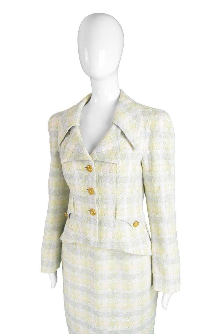 Women's Unworn Christian Lacroix Cotton & Raffia Tweed Vintage Skirt Suit, 1990s For Sale