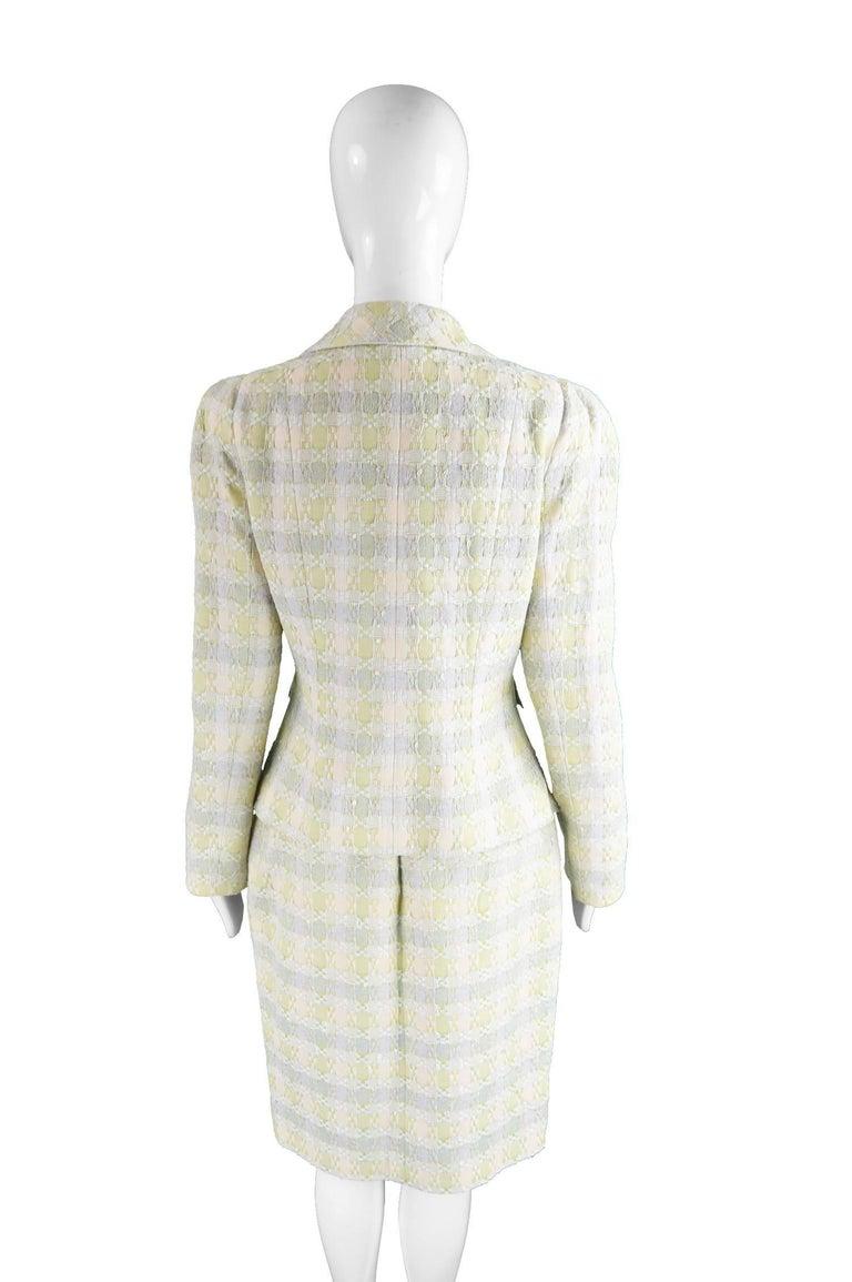 Unworn Christian Lacroix Cotton & Raffia Tweed Vintage Skirt Suit, 1990s For Sale 2