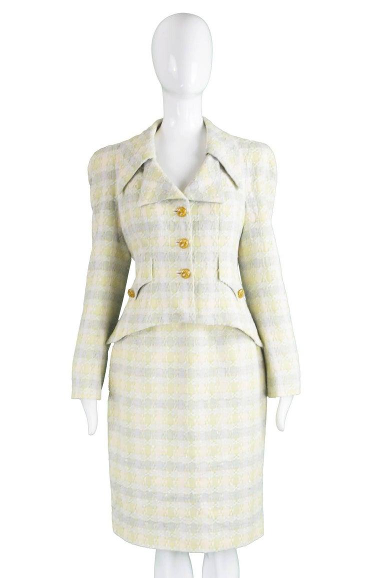 Beige Unworn Christian Lacroix Cotton & Raffia Tweed Vintage Skirt Suit, 1990s For Sale