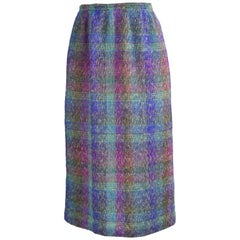 Missoni Vintage Italian Wool & Mohair Knit Multicolored Plaid Skirt, c. 1970s