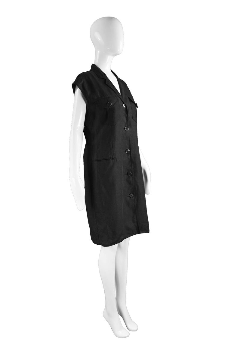 Women's Genny Black Linen Vintage Shift Dress with Sheer Open Crochet Back, 1990s For Sale