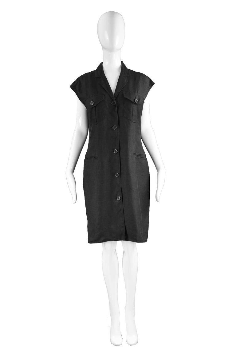 """Genny Black Linen Vintage Shift Dress with Open Crochet Back, 1990s  Estimated Size: UK 14/ US 10/ EU 42. Please check measurements.  Bust - 39"""" / 99cm Waist - 36"""" / 91cm Hips - 42"""" / 106cm Length (Shoulder to Hem) - 37"""" / 94cm  A beautiful vintage"""