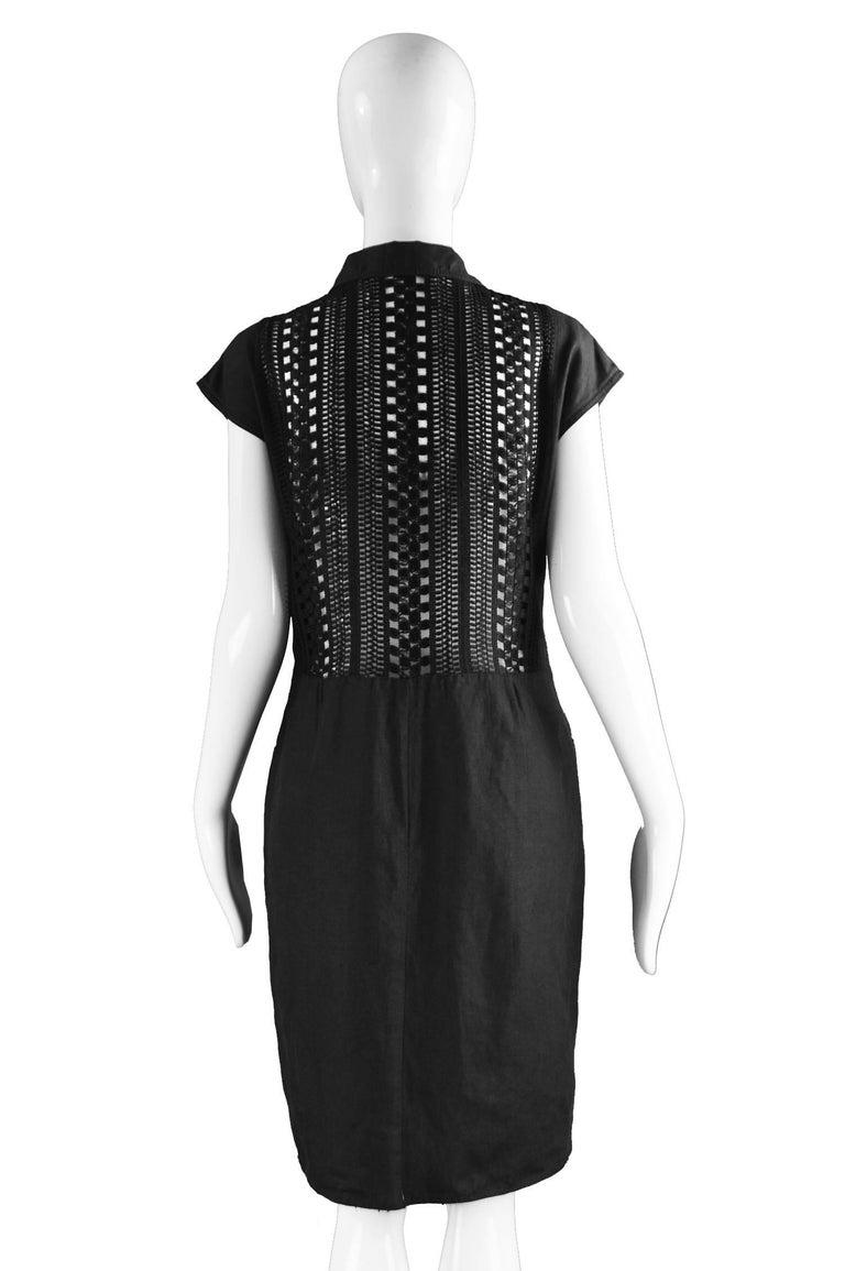 Genny Black Linen Vintage Shift Dress with Sheer Open Crochet Back, 1990s For Sale 1