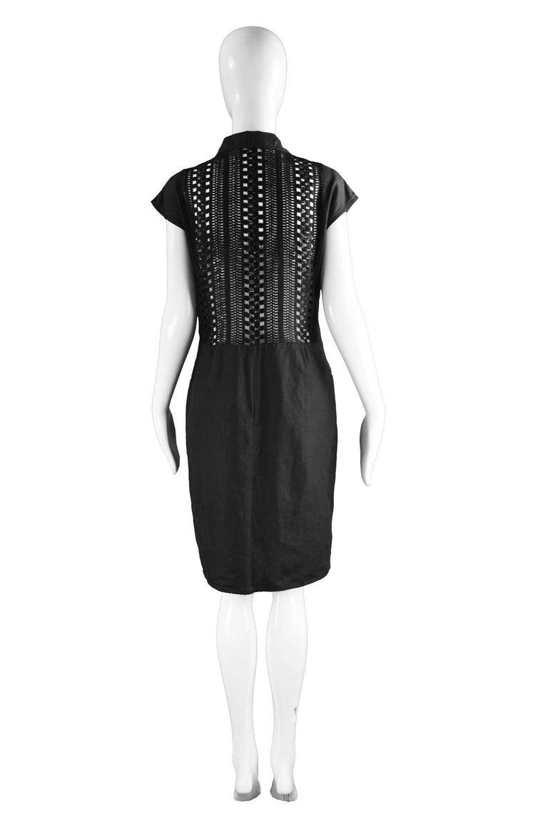 Genny Black Linen Vintage Shift Dress with Sheer Open Crochet Back, 1990s For Sale 2