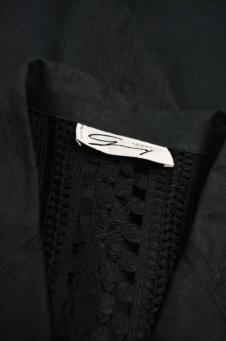 Genny Black Linen Vintage Shift Dress with Sheer Open Crochet Back, 1990s For Sale 4