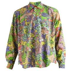 Katharine Hamnett Mens Multicolored Psychedelic Pop Art Print Shirt, 1990s