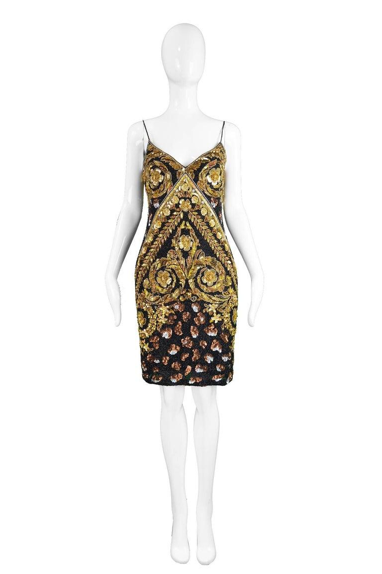 "Naeem Khan Vintage Heavily Beaded & Sequinned Silk Party Dress, 1980s  Size: Marked S fits like UK 10/ US 6/ EU 38. Please check measurements. Bust - 34"" / 86cm Waist - 28"" / 71cm Hips - 38"" / 96cm Length (Shoulder to Hem) - 36"" /"